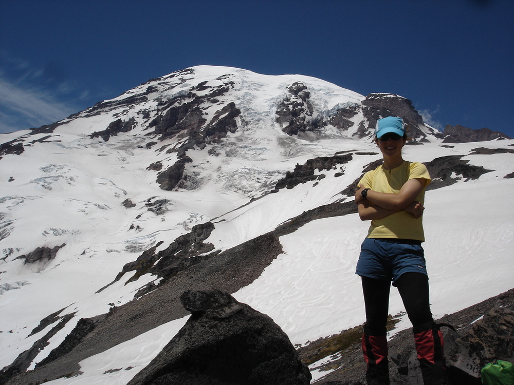 Ah yes, the classic long underwear + shorts + gaiters.  My first Rainier attempt, circa 2007.
