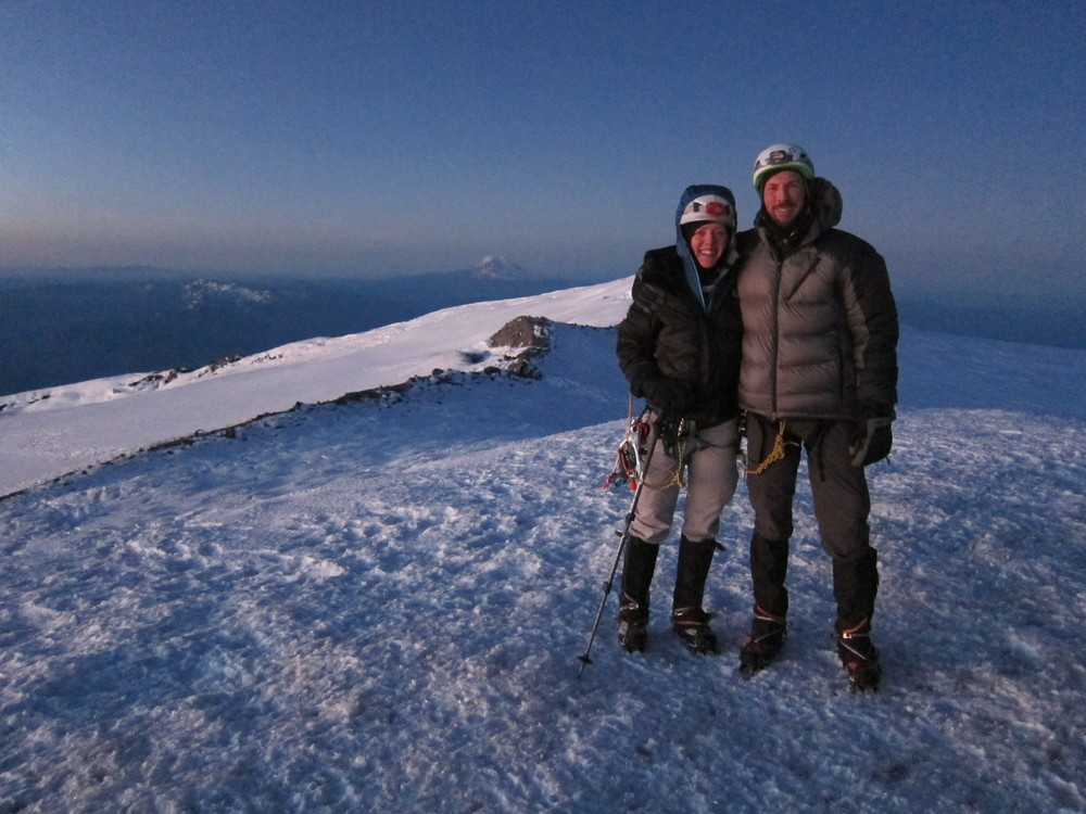Finally, a summit photo - Aaron and I on Columbia Crest, the true summit of Mt. Rainier, 14,410