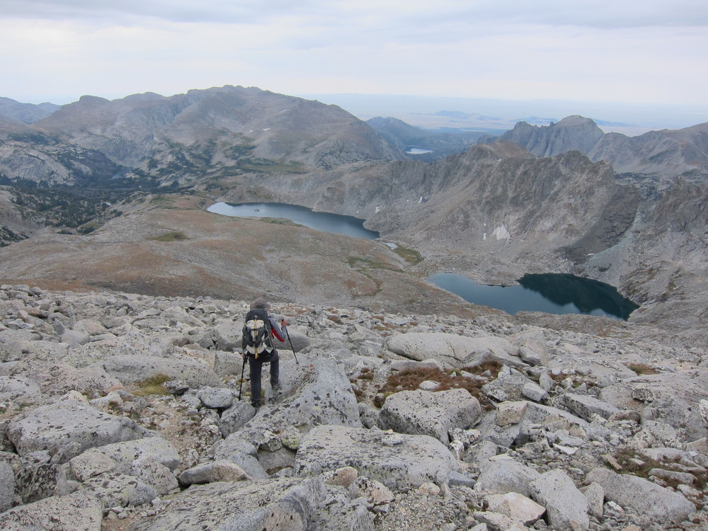 Off trail travel towards Tayo Lakes, Wind River Range, Wyoming.