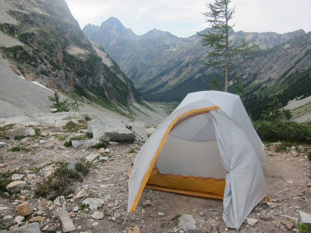 Campsite perched at the head of the Fisher Valley, North Cascades National Park.