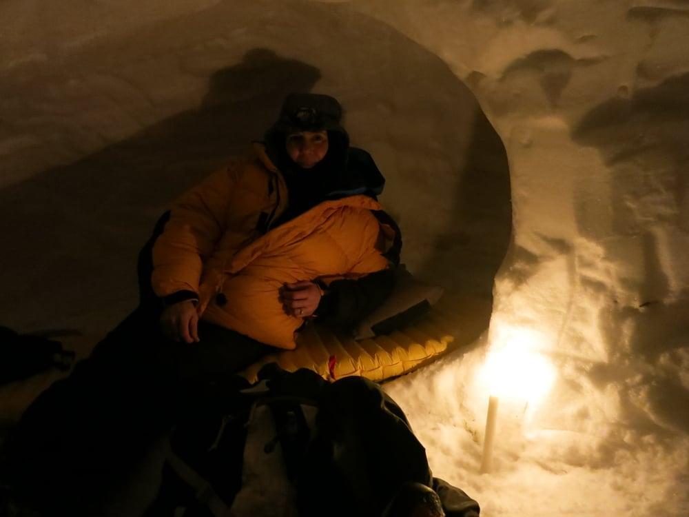 Brenda, in her cozy snow cave