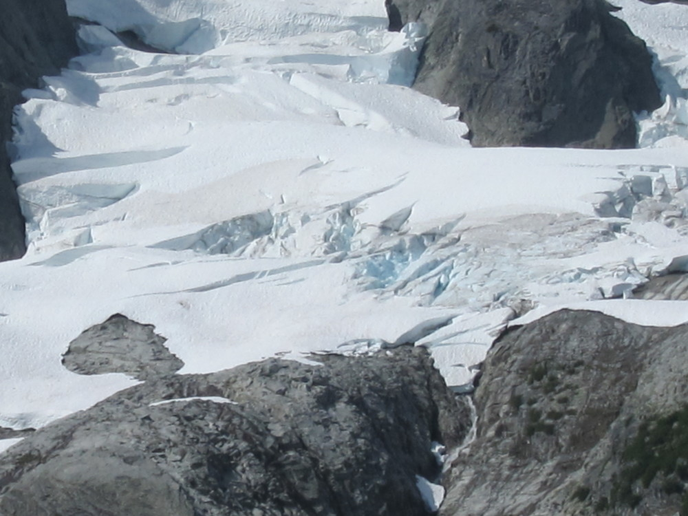 A zoomed in photo of the horrible conditions on the Whatcom Glacier.  A trip later in the year to this same area revealed that the entire section of Glacier that we had been standing on had completely slid away in a massive avalanche.