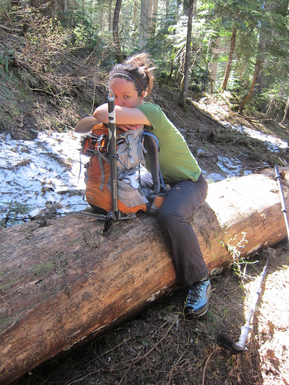 Fighting exhaustion after nearly 18 miles and 9800' gain on Snowking Mountain in the North Cascades, Washington.