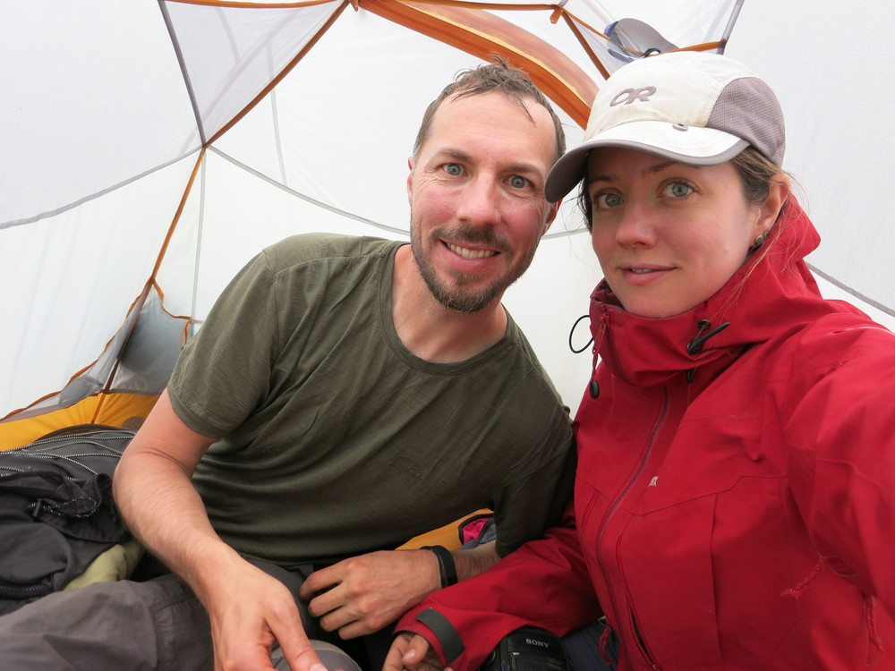 Awww... we look so happy.  What you can't tell is that we were soaked.  And cold.  And tired.  And extremely stressed out due to some route finding issues.  The joy we experienced the next day when we were able to overcome those challenges was absolutely amazing.  But in this photo, we were both scared and frustrated (but still smiling, of course).