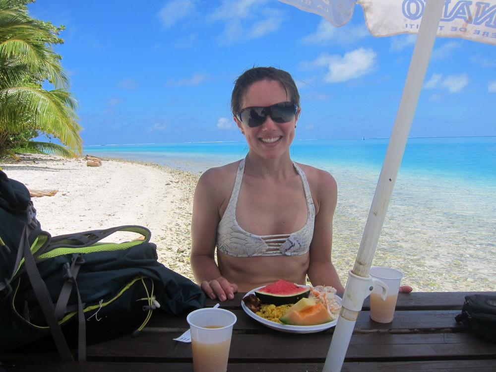 Fruit, chicken, a little rice and some poisson cru (a Tahitian specialty - raw tuna with coconut milk and lime!) on Huahine, French Polynesia.