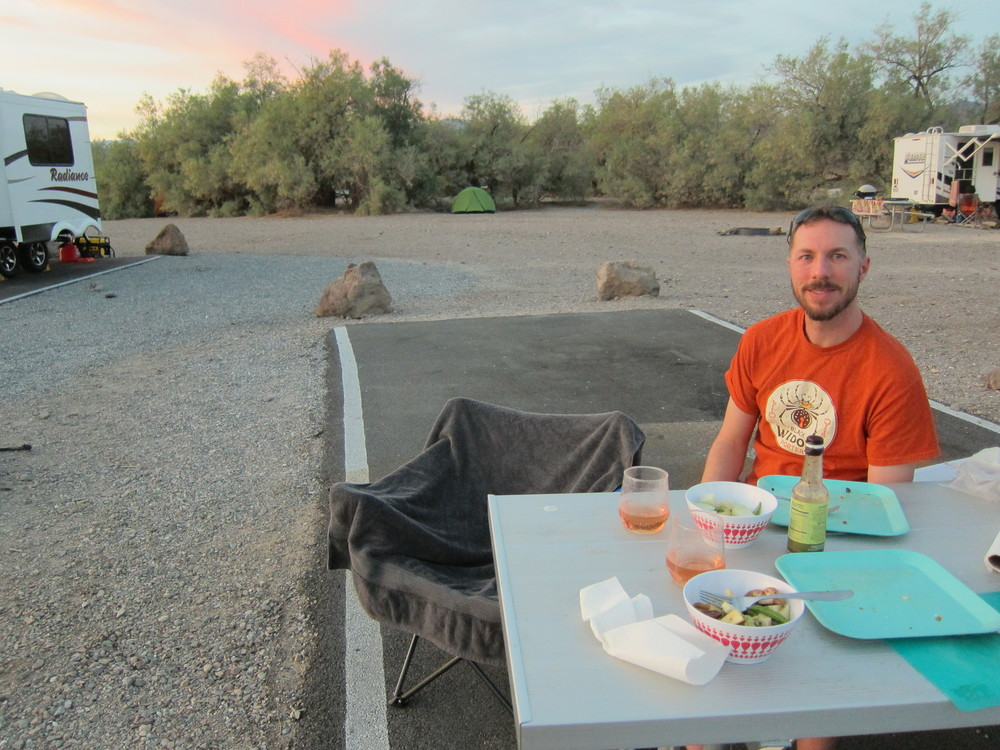 On a road trip to Death Valley ...we packed rotisserie chicken + salad fixings in our cooler and cooked eggs and sausage on the camp stove!