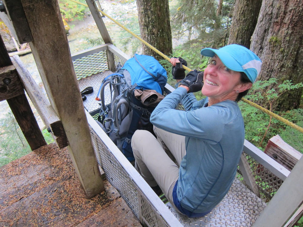 About to perform a cable crossing of the Chilliwack RIver, North Cascades.