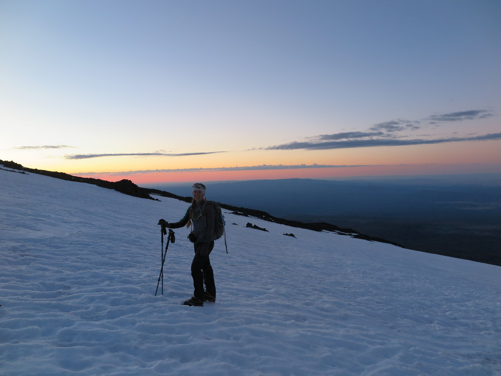 On the lower slopes of Mt. Adams just before sunrise.