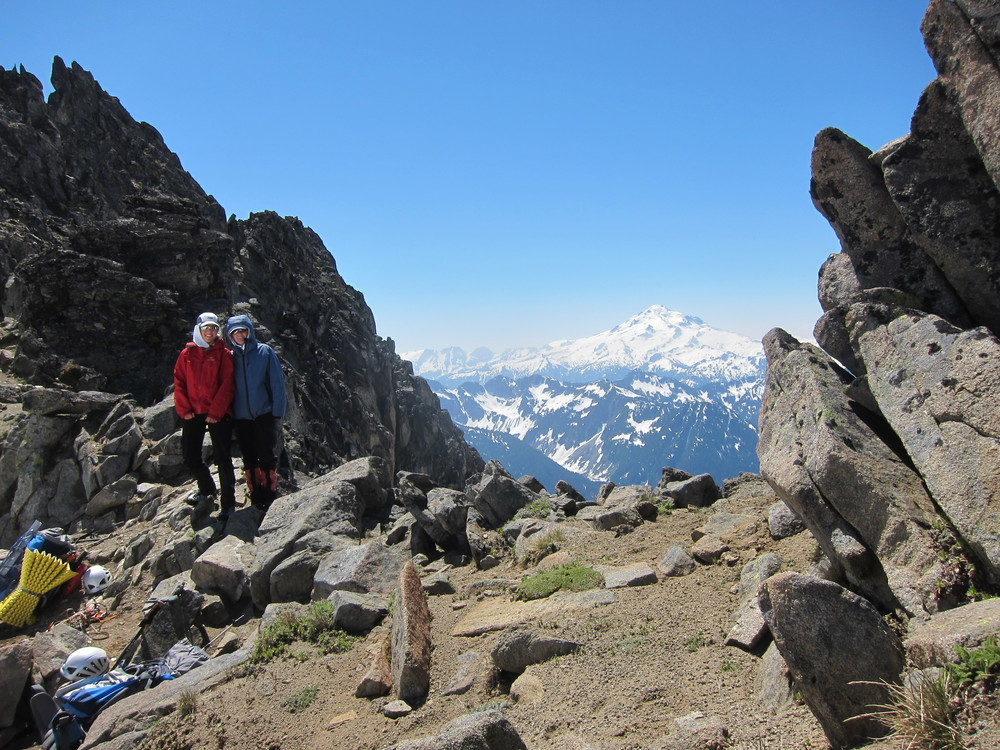 At Spire Col, about to start our two day descent back to the world.  Glacier Peak looms in the background.