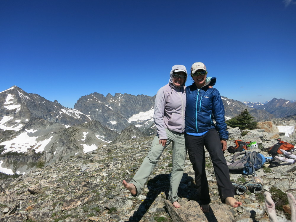 And here we are 5 years later (just last week!) on the summit of N. Spectacle Butte.  Still climbing, still crazy and still friends.