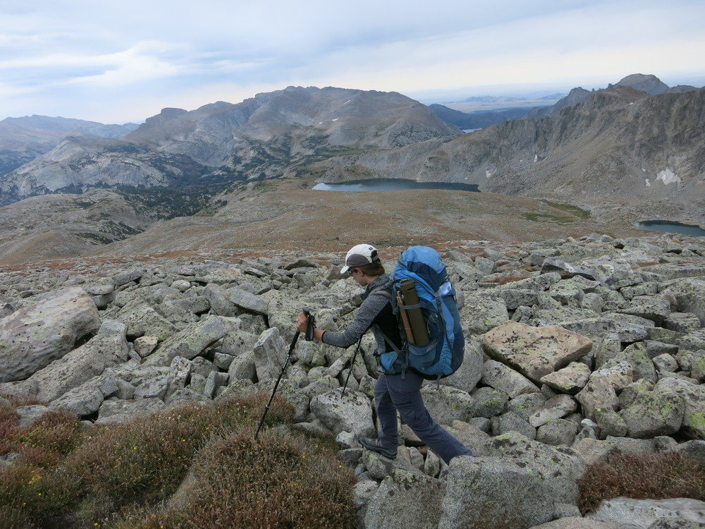 Descending from Wind River Peak in an endless boulder field to Tayo Lakes.