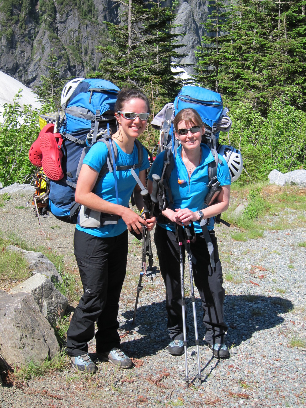 Carrying way too heavy packs at Cascade Pass - the start of the Ptarmigan Traverse.