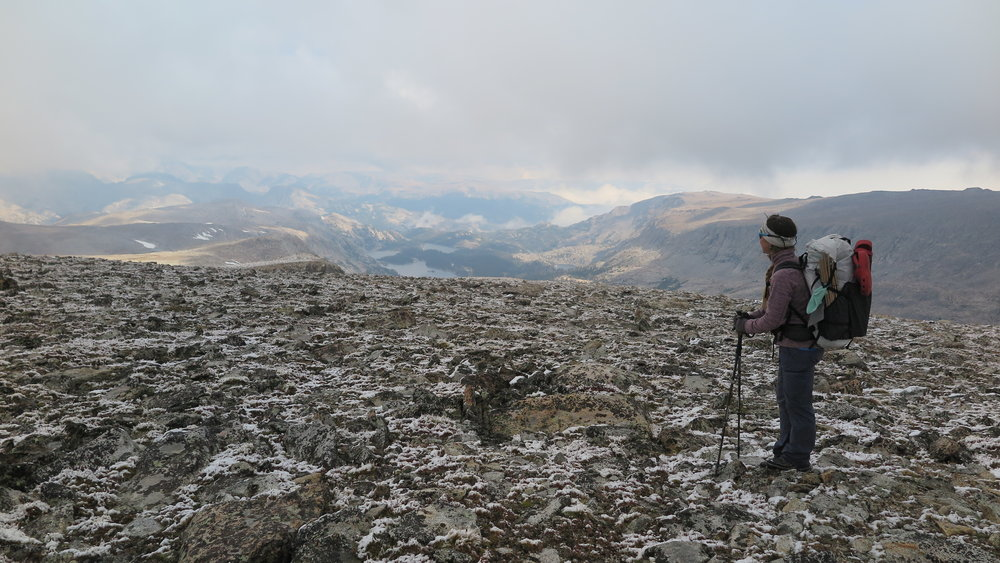 Light snow on the Continental Divide, below the true summit of Europe Peak.