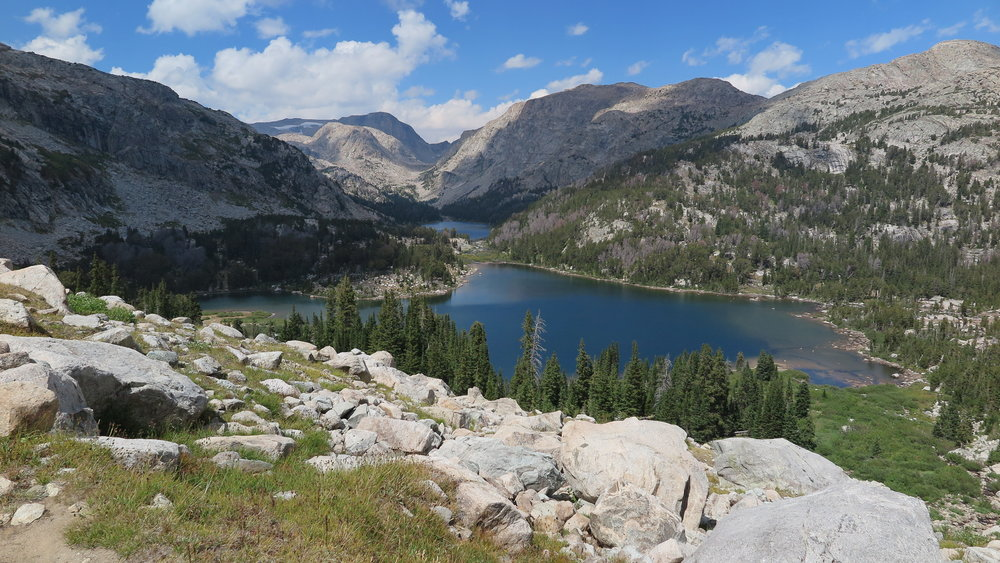 Looking at the Golden Lakes, with Douglas Peak Pass barely visible in the distance.