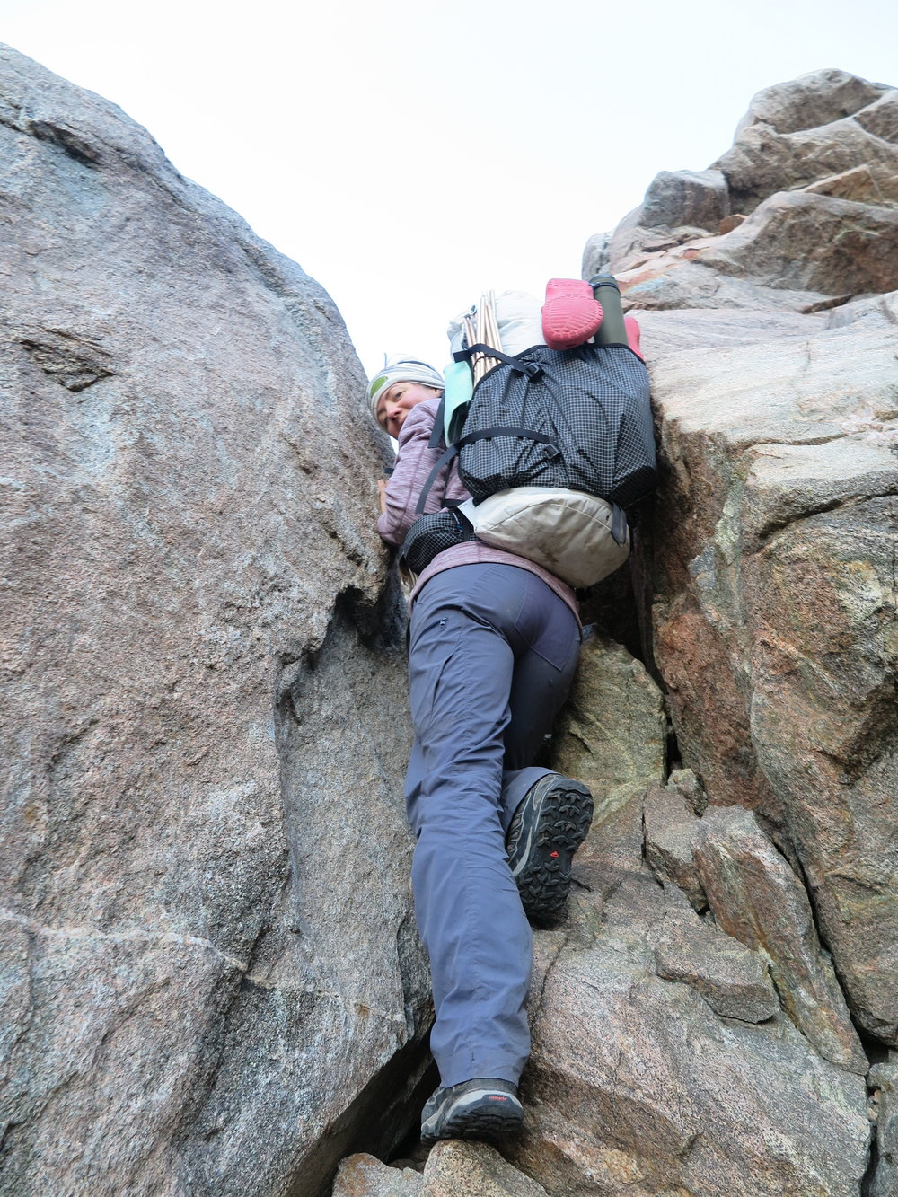 Climbing up and over the notch.