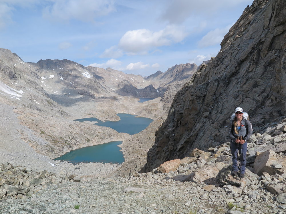 The view into Alpine Lakes Basin from Douglas Peak Pass. Our next big pass is Alpine Lakes Pass - the low point on the horizon in the middle of the photograph.