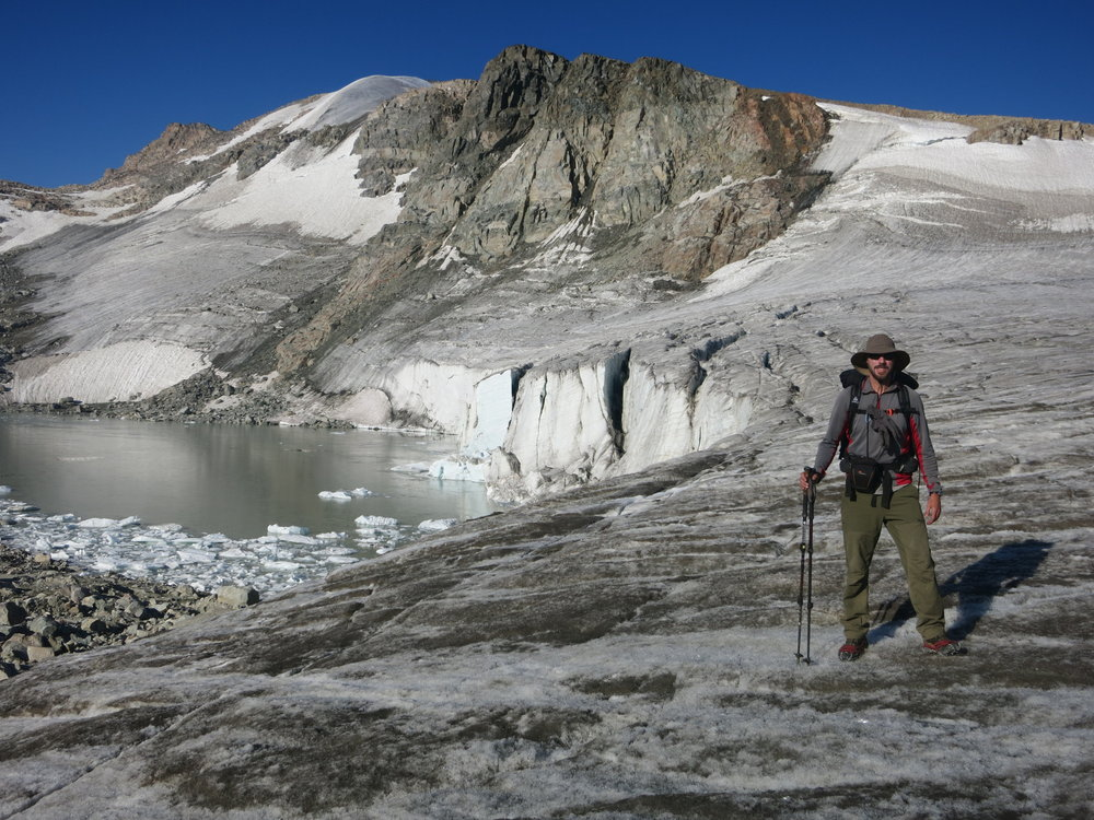 Aaron on the edge of the Grasshopper Glacier.
