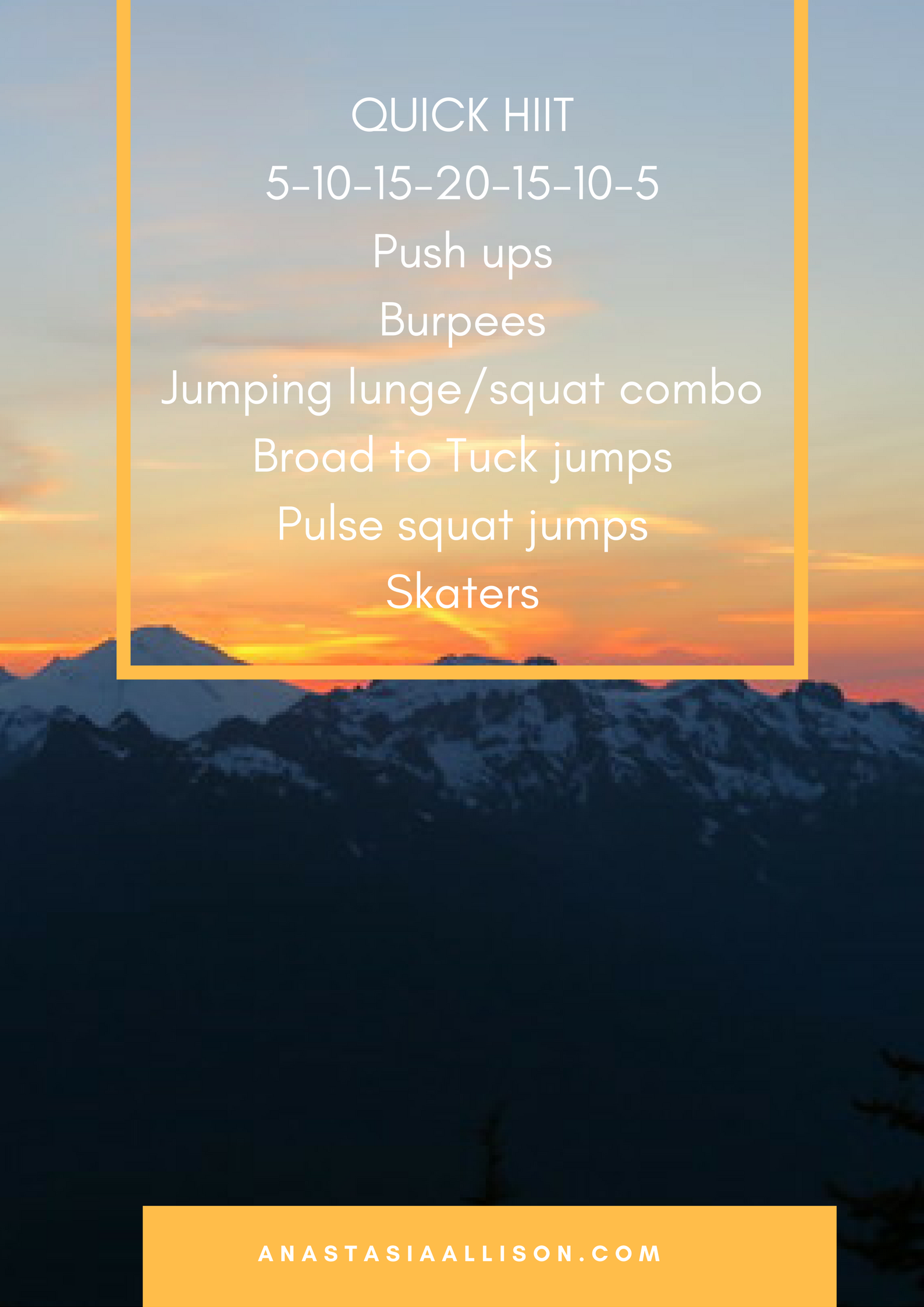 This workout is HORRIBLE. I mean, horrible. Modify as needed and you can also reduce the reps to 3-6-9-12-9-6-3.