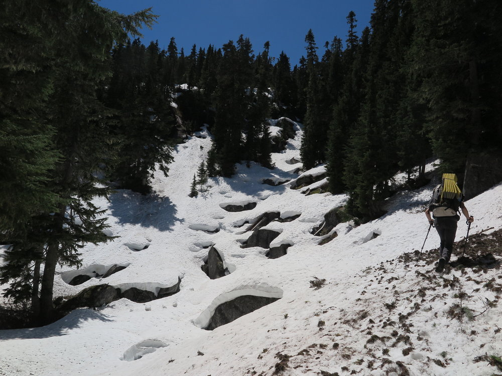During the spring, poles maximize safety while meandering through melting boulder fields.