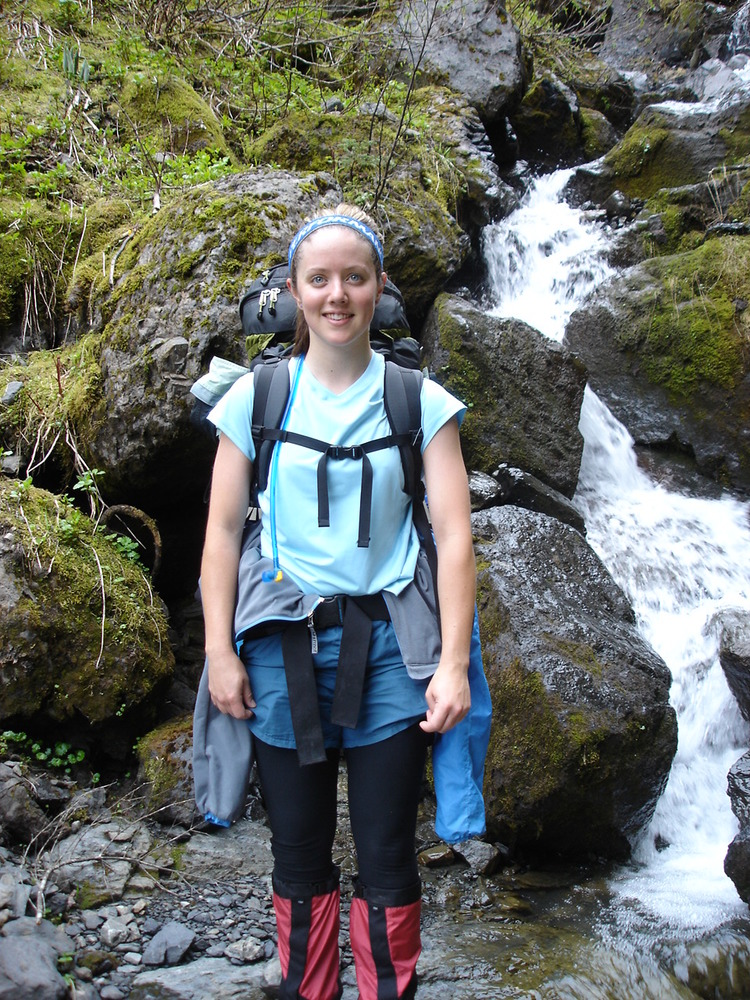 On my first ever backpacking/mountaineering trip: carrying a stupidly heavy pack and no poles.
