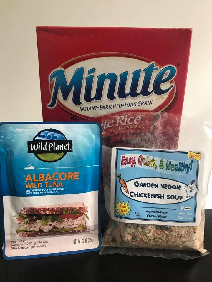 Minute rice re-hydrates really well, and the combo of the tuna + the