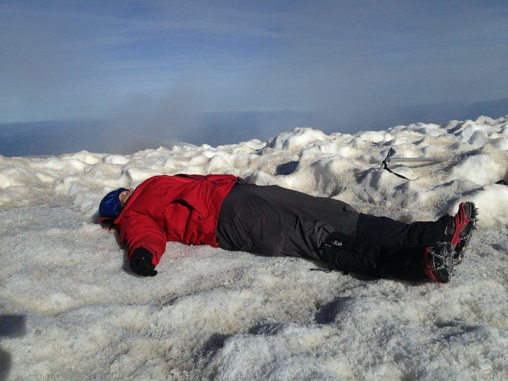 Savasana on the summit of Mt. Adams.