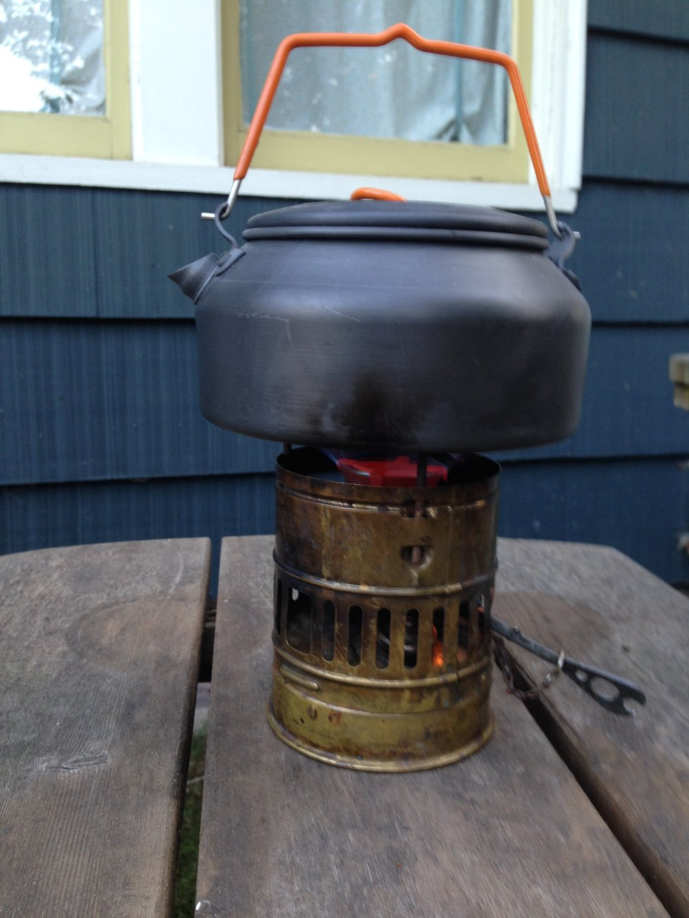 Testing out the Svea stove.