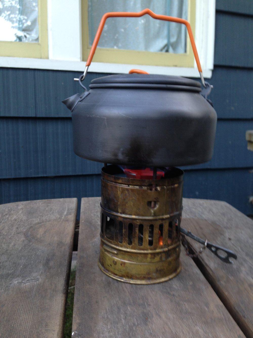 Testing out the Svea stove.